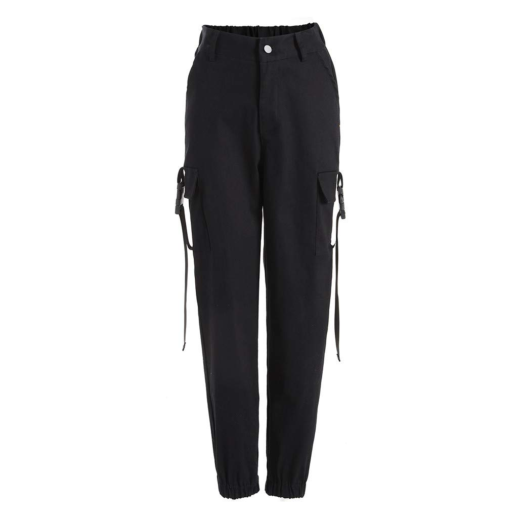 Yazidan Frauen hohe Taille l/ässig Harem Hosen Lange Hosen Streamer Schultasche Schnalle Mode Hip Hop Tanzen L/ässige Hosen Haremshosen Overall Jeans
