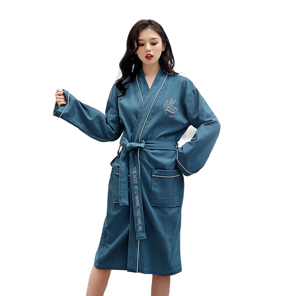 A Summer Robes, Men's and Women's Cotton Long Paragraph Robe Cotton Couple bathrobe