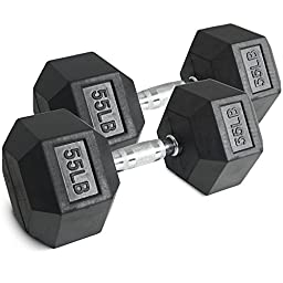 Pair 55 lb Black Rubber Coated Hex Dumbbells Weight Training Set 110 lb Fitness