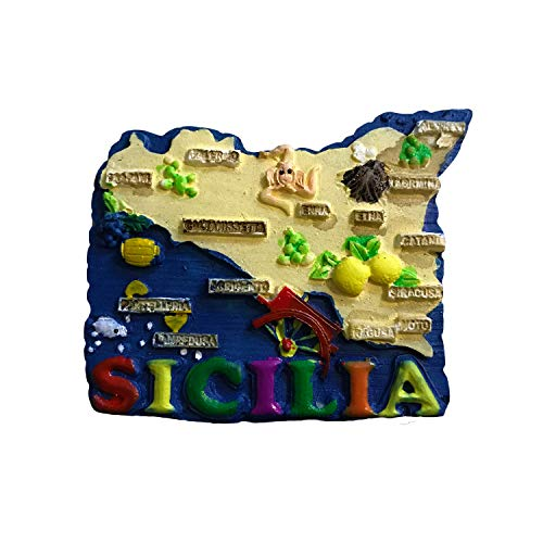 - Sicily Sicilia Italy 3D Map Fridge Magnet Tourist souvenir Travel Sticker,Italy Refrigerator Magnet,Home and Kitchen Decoration Collection from China