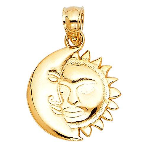 ZenJewels Solid 14k Yellow Gold Moon Sun Half Face Pendant Crescent Sun Charm Genuine Polished 13 x 13 ()