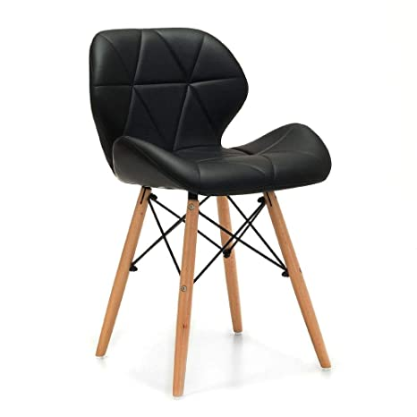 Deal Dhamaal Eames Replica Faux Leather Dining Chair/Cafeteria Chair/Side Chair/Accent Chair (Black)
