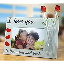 I Love You to the Moon and Back Glass Picture Frame - Crystal Red Roses in a Glass Vase & Red Hearts - Anniversary Gift - Valentine's Day Gift for Her - For 4x6 Inch Photo