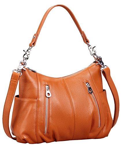 Heshe Women's Leather Shoulder Handbags Cross Body Bags Hobo Totes Top Handle Bag Satchel and Purse for Ladies (Brown-H) by HESHE