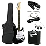ZENY 39'' Full Size Electric Guitar with Amp, Case and Accessories Pack Beginner Starter Package, Black