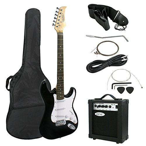 Smartxchoices 39″ Full Size Black Electric Guitar with 10W Amp,Gig Bag Case Guitar Strap Package for Beginner Starter (Black)