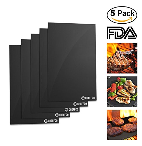 Set Bbq Cubs - Cheffco #1 Best Grill Mat – Set Of 5, Heavy Duty, Non-Stick, Reusable, Grill Accessories Easy To Clean BBQ Grill Mat, Gas, Charcoal, Electric Grill Dishwasher Safe, FDA Approved, (5)