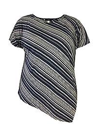 LEEBE Woman and Plus Assymetrical Diagonal Stripe Shirt