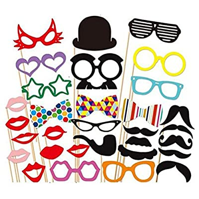31 Pcs DIY Colorful Photo Booth Props On A Stick Mustache Bearded Lips For Fun Wedding Favor Christmas Birthday Party Favor