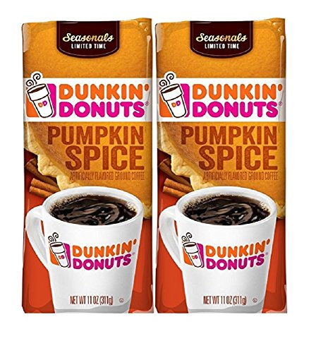 Dunkin Donuts Ground Coffee (Pack of 2) (Pumpkin Spice)11 oz (22 oz Total) (Ground Spices)