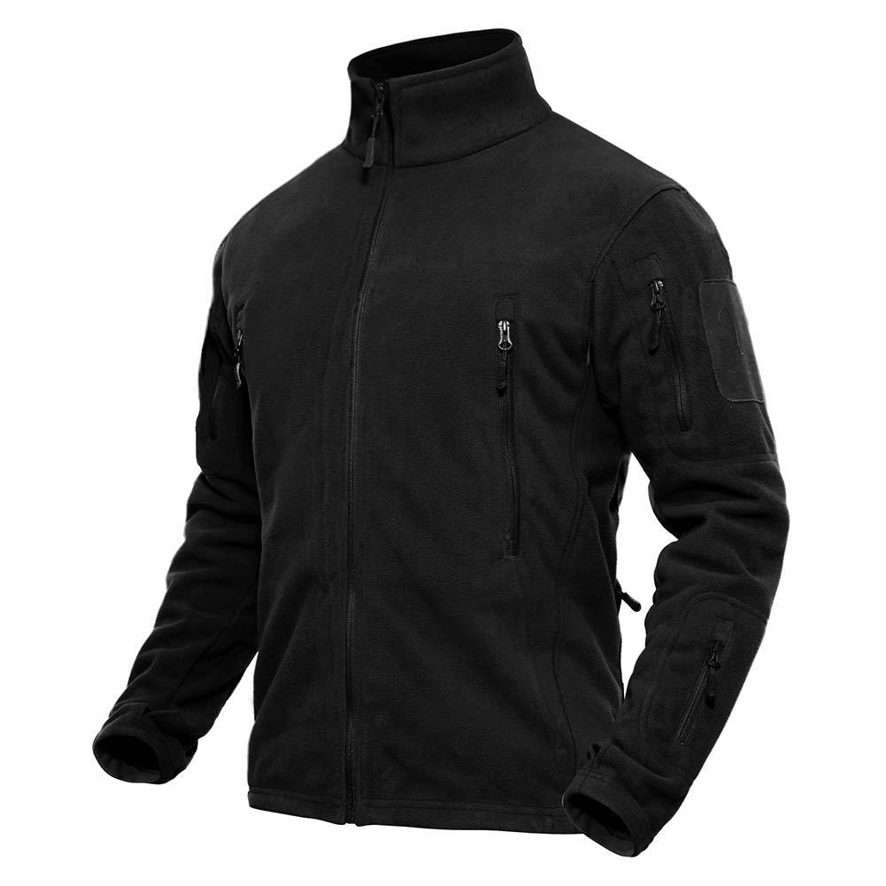 TACVASEN Men's Casual Outdoor High Collar Jacket Fleece Camping Hiking Fishing Jackets Black