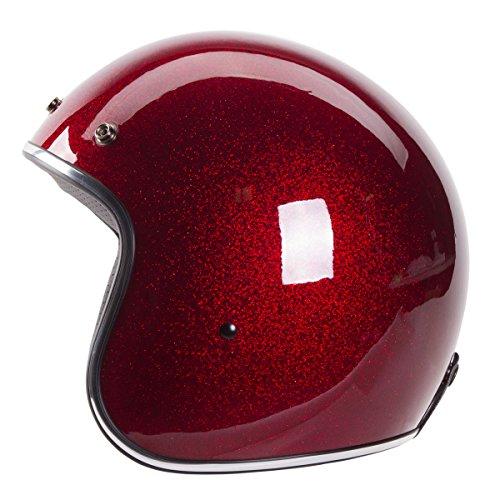 "3/4 Retro Helmet [DOT]- ""Metal Flake"" Open Face, High Gloss Dark Red Wine Red Helmet by IV2 (S)"