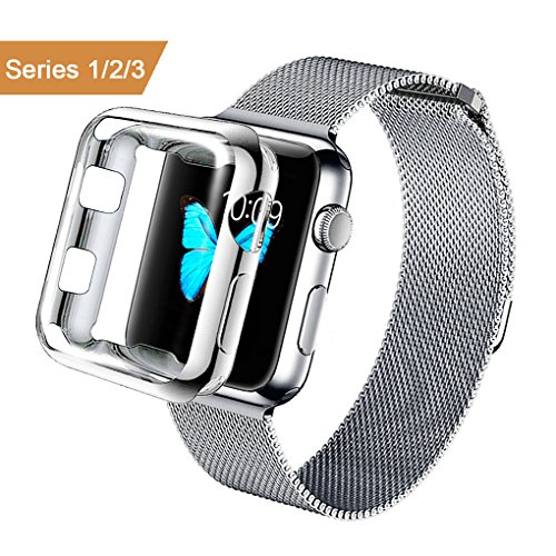 AdMaster for Apple Watch Band 42mm Stainless Steel Metal Replacement Wristband Milanese Sport Strap and Apple Watch Screen Protector for Apple Watch Series 3 2 1, Silver