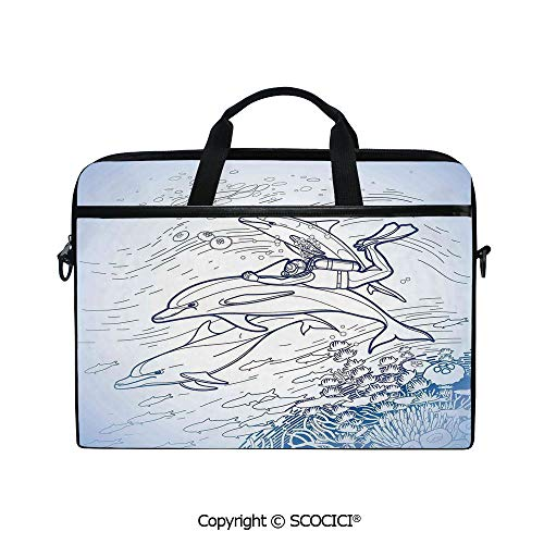 (Laptop Sleeve Notebook Bag Case Messenger Shoulder Laptop Bag Sketch of Scuba Diver Holding Fin of Dolphin Over Coral Reefs Fish Underwater with Handle and Extra Side Pockets)