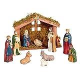 Porcelain Manger Nativity Set, 11-Piece