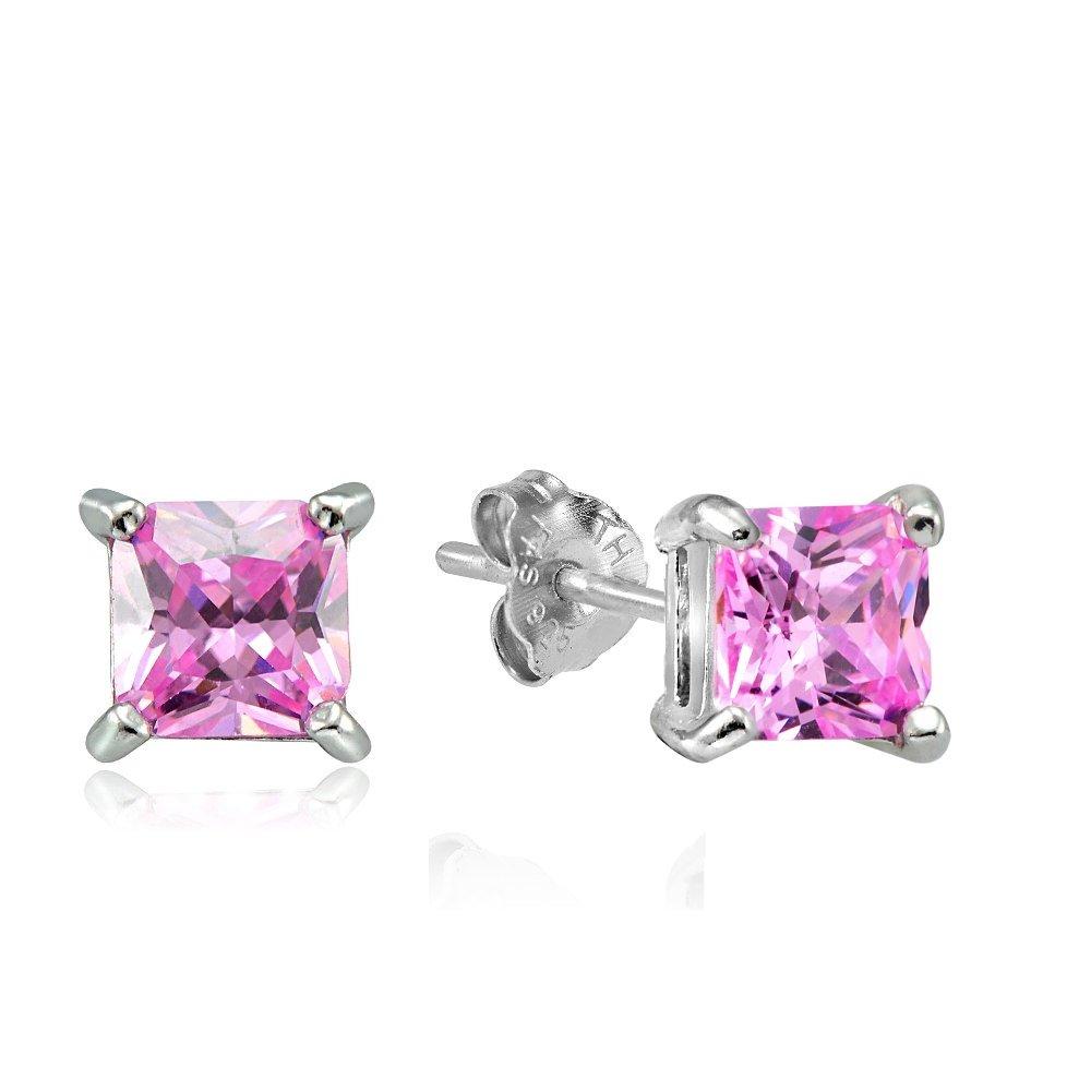 Hoops & Loops Sterling Silver 1.5ct Pink Cubic Zirconia 5mm Square Princess Stud Earrings, One Pair Set