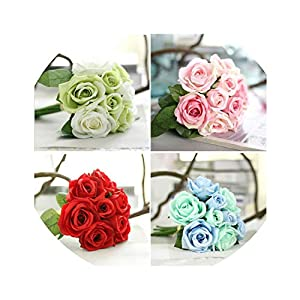 Artificial Rose Flower Wedding Bridal Bouquet 9 Heads Silk Rose Flowers for Home Wedding Party Decoration 56