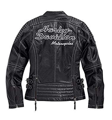 Harley-Davidson Women's Agitator Leather Jacket, Black/White. 98086-15VW