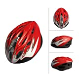 SAHOO New Eco-Friendly Bike Bicycle Integrated Helmet Cycling Adult Adjustable Safety Protection Helmets 18 Holes (Red-White)
