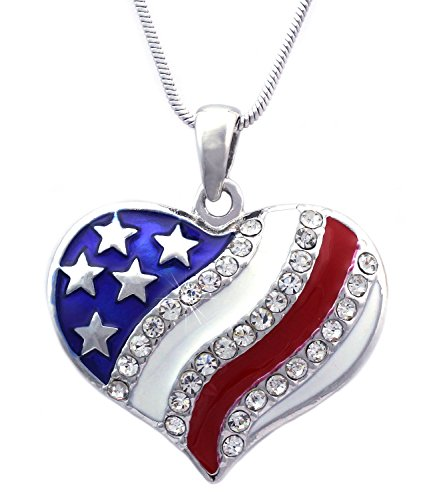 cocojewelry 4th of July Patriotic USA American Flag Heart Pendant Necklace (Heart - Flag American Heart