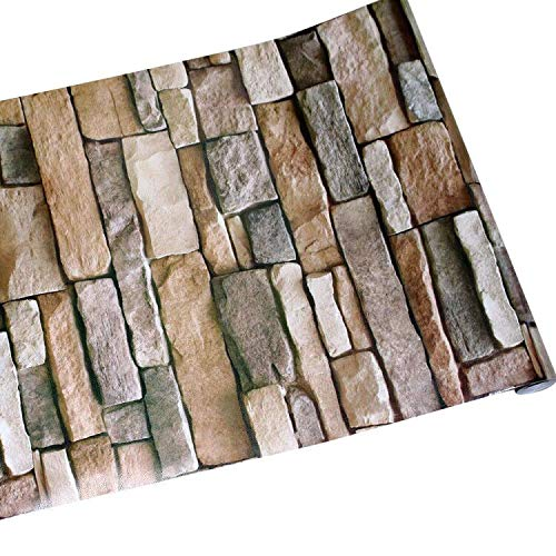 GURMORE Stone Brick Wallpaper, 3D Effect PVC Peel and Stick Wallpaper for Home Design and Room Decoration (brick01)