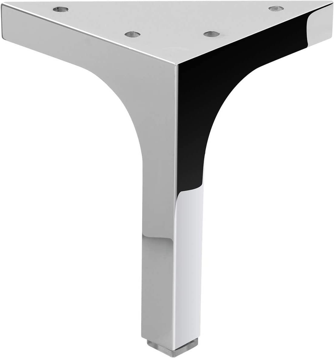 """4.75"""" Furniture Storage Cabinet Metal Legs Table feet Stainless Steel Square - Verified Lab Test Supports +1600 pounds - 4 Piece Set"""