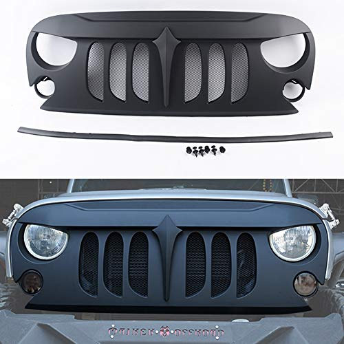 Maiker Jeep Wrangler Front Grille Demon Grid Grill W/Mesh for 2007-2017 Jeep Wrangler JK & Unlimited, Matte Black