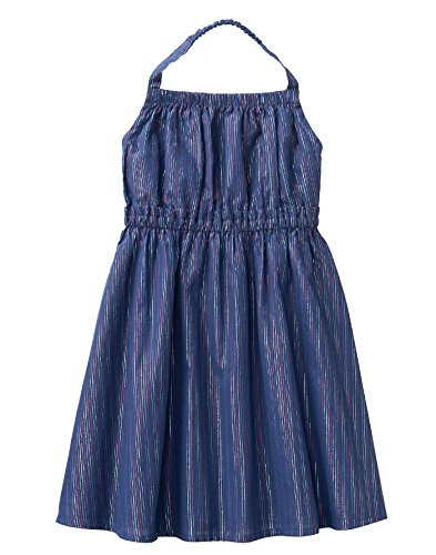 - Crazy 8 Girls' Toddler Woven Halter Dress, Blue Lurex Stripe 5T