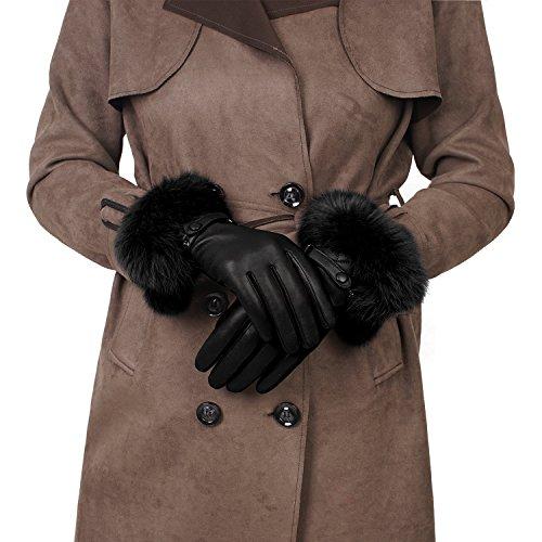 GSG Womens Luxury Italian Genuine Nappa Leather Gloves Fashion Fur Trim Full Palm Touchscreen Winter Warm Gloves Black 8.5 by GSG (Image #2)'