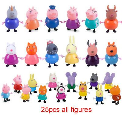Peppa Pig Playset Cute Family and Friends 25 Mini Figure Pack 3 Inch - 3.5 Inch. Peppa, George, Mummy and Daddy Pig and More (Turtle Ninja Figurines Small)