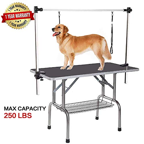 Pet Grooming Table for Large Dogs Adjustable Professional – Portable Trimming Drying Table w/Arm Nose/Mesh Tray, Maximum Capacity Up to 300LB, 36""