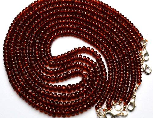 1 Strand Natural Hessonite Garnet Facet 4 to 6MM Rondelle Beads 19 Inch by LadoNarayani