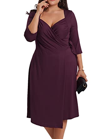 Redhotype Womens Casual Front Sweetheart Neck 34 Sleeve Plus Size