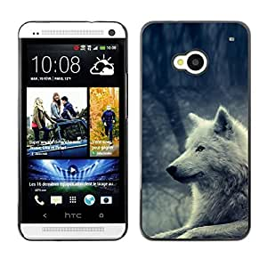 Caucho caso de Shell duro de la cubierta de accesorios de protección BY RAYDREAMMM - HTC One M7 - White Wolf Magical Forest Nature Dog