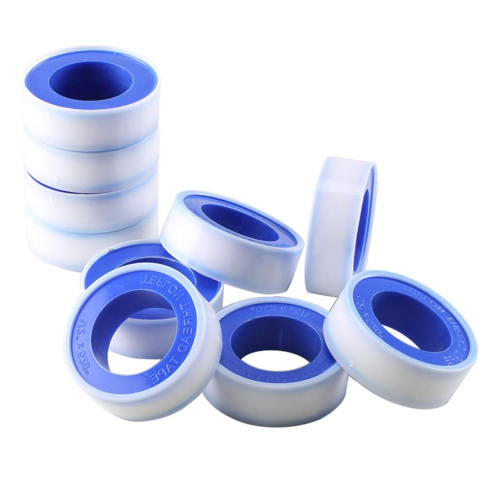 FJSM 10 Rolls 520 Inch PTFE Pipe Plumbers Thread Sealing Tape Teflon Pipe Sealing Sealant Tape White for Plumbers Shower-Head Water Systems Plastic Spool FOGAWA
