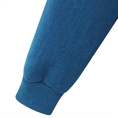 Pullover Felpa Giacca Lunga Sweatshirt Con Donna Zip Lunghe Blu Quge Cappotto Maniche Cappuccio Y5Ugqw
