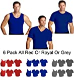 IS PRO 6pc Variety pack, 2 ea. Muscle tank, Crew-neck and V-neck shirts - Royal-XL