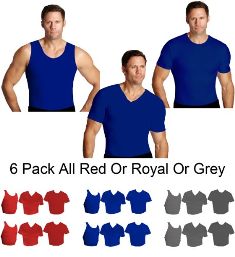 IS PRO 6pc Variety pack, 2 ea. Muscle tank, Crew-neck and V-neck shirts - Royal-XL by IS PRO