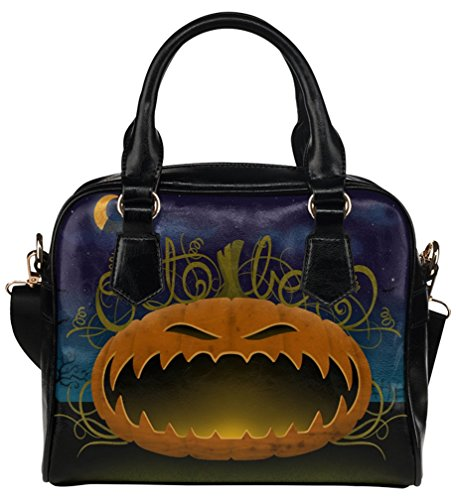 Fashion PU Leather Crossbody Handbag Shoulder Bag Black Background with Halloween Pumpkin Print (Small) (Pumpkin Background)