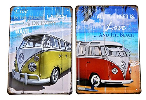 Bellaa 25907 Metal Tin Sign Bus Vintage Style Wall Ornament Minivan Bus Mini Accents