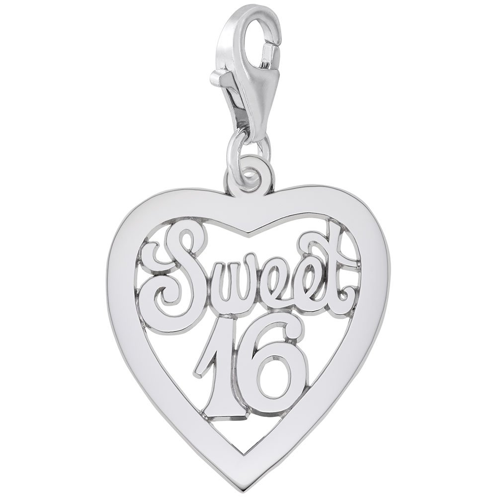 Sterling Silver Sweet 16 Charm With Lobster Claw Clasp, Charms for Bracelets and Necklaces