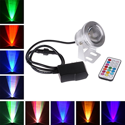 1000 Remote Control Spotlight (Remote Control 10w 12v Water resistant RGB Underwater Light Lamp for Landscape Fountain Pond Lighting Outdoor Security Color Changing LED Light with 24Key Remote Control and Plug (Silver))