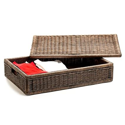 Lovely The Basket Lady Underbed Wicker Storage Box, Large, Antique Walnut Brown