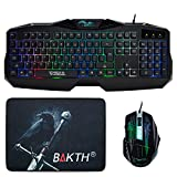 BAKTH 2015 New Design Colorful Seven Distrct with Different Seven Color Rainbow Backlit Gaming Keyboard + Seven Automatic Color Changing Backlit Mouse + BAKTH® Customized Fire Mouse Pad as Gift [18-Month-Warranty]