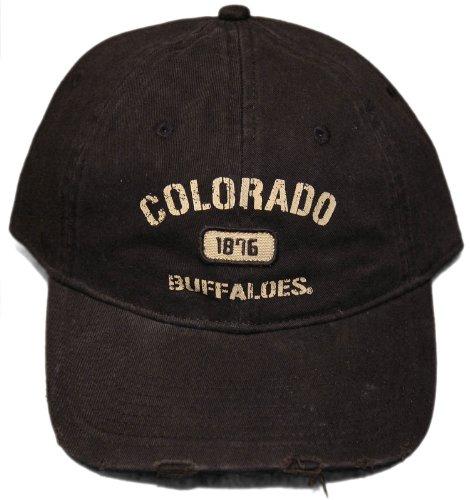 細部援助するウェイター新しいColorado Buffaloes調節可能なバックルバックキャップ – pre-distressed帽子
