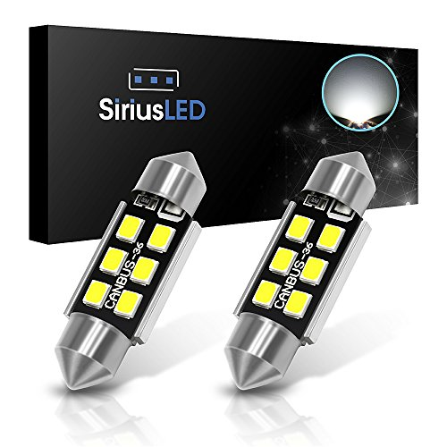 "SiriusLED Super Bright 2835 Chipset Canbus Error Free LED Festoon Bulbs for Car Interior License Plate Dome Courtesy Lights 1.50"" 36MM Festoon 6411 6418 C5W 6000K Xenon White Pack of 2"