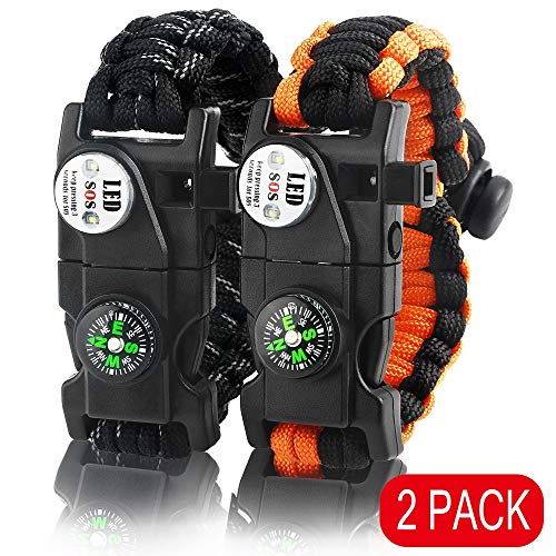 IMPHOM Survival Bracelet Paracord Military Buckle Tool Adjustable Rope Accessories Kit, Fire Starter, Knife, Compass, LED Light,Whistle,for Fishing Hiking Travel Camp(2pcs) Reflective Black+Orange