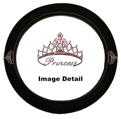 Pink Princess w/ Cute Crown Gem Crystal Studded Rhinestone Bling Car Truck SUV Steering Wheel Cover (Studded Steering Wheel compare prices)