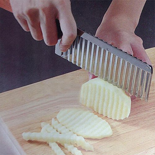 (Artlalic) Potato Wavy Edged Knife Stainless Steel Kitchen Gadget Vegetable Fruit Cutting Peeler Cooking Tool Accessories