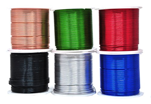 Mandala Crafts Anodized Aluminum Wire for Sculpting, Armature, Jewelry Making, Gem Metal Wrap, Garden, Colored and Soft, Assorted 6 Rolls (18 Gauge, Combo 9)